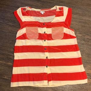 Anthro Odille 100% Silk Striped Blouse. Size 6.